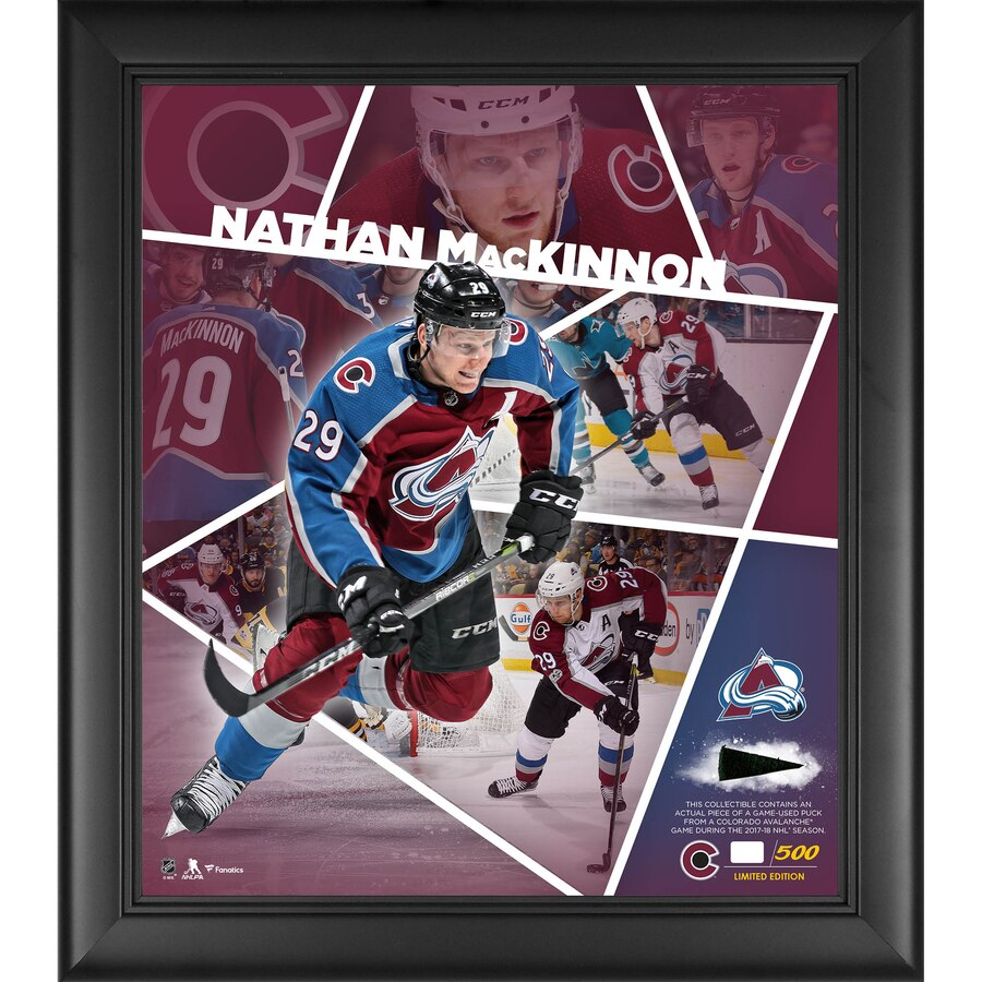 "Nathan MacKinnon Colorado Avalanche Framed 15"" x 17"" Impact Player Collage with a Piece of Game-Used Puck - Limited Edition of 500"