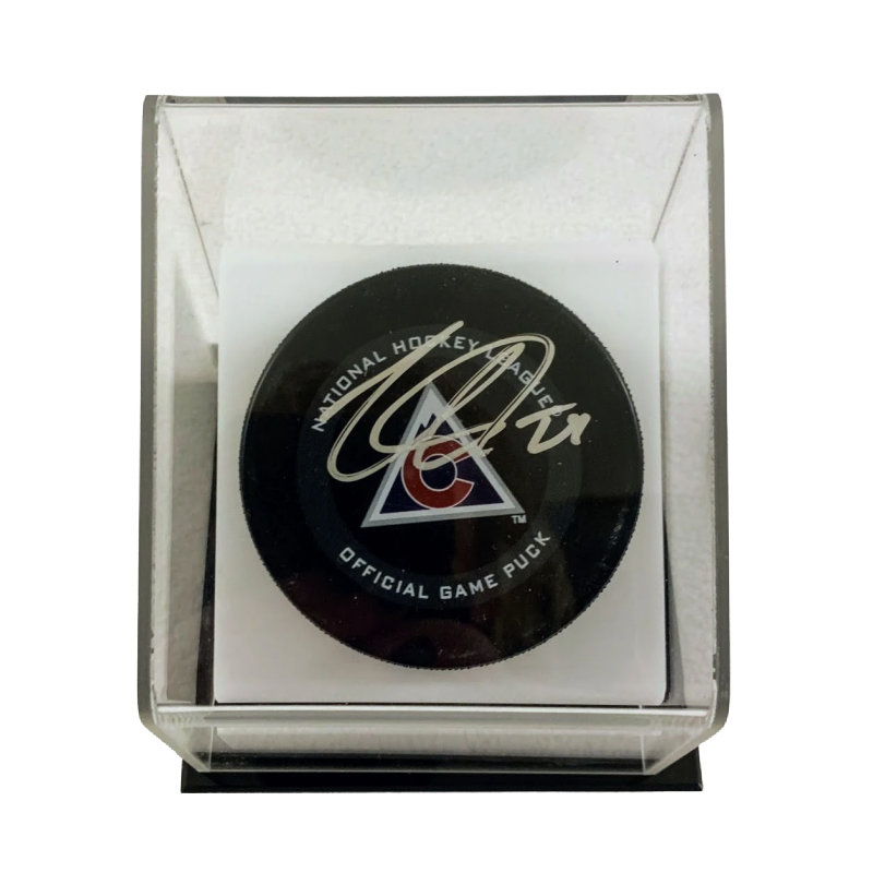 Nathan MacKinnon Autographed NHL Official Puck with Display Case LSM Fanatics COA