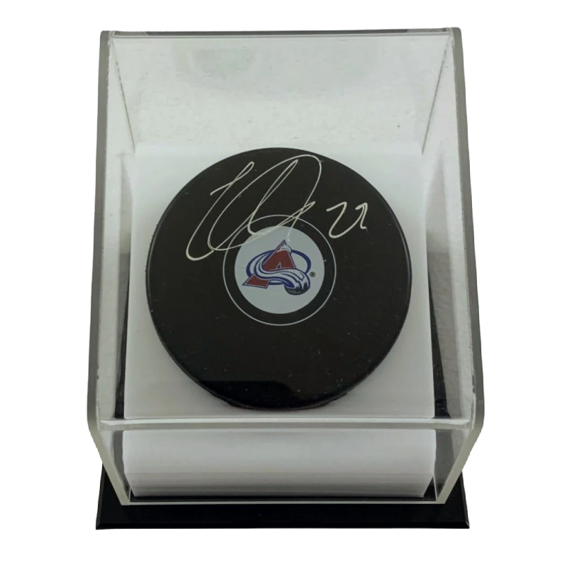 Nathan MacKinnon Autographed Colorado Avalanche Puck with Display Case LSM Fanatics COA