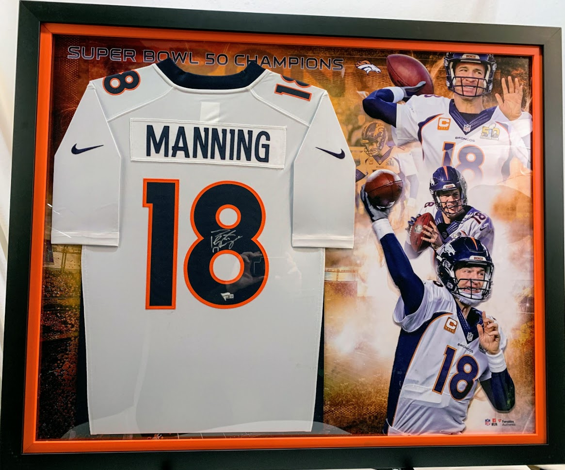 Peyton Manning Denver Broncos Signed and Framed Jersey (Deluxe White)