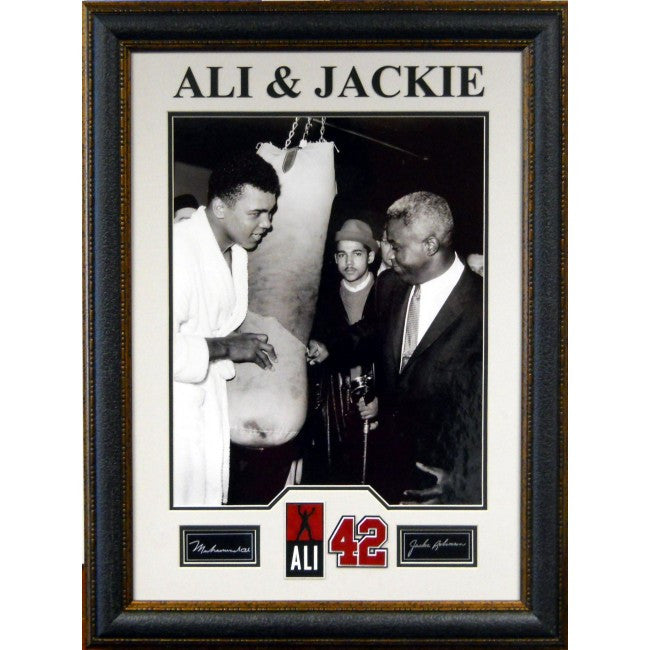 Muhammad Ali & Jackie Robinson Framed with Laser Signatures - Latitude Sports Marketing