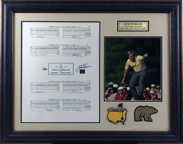 Jack Nicklaus Signed Scorecard Framed Collage