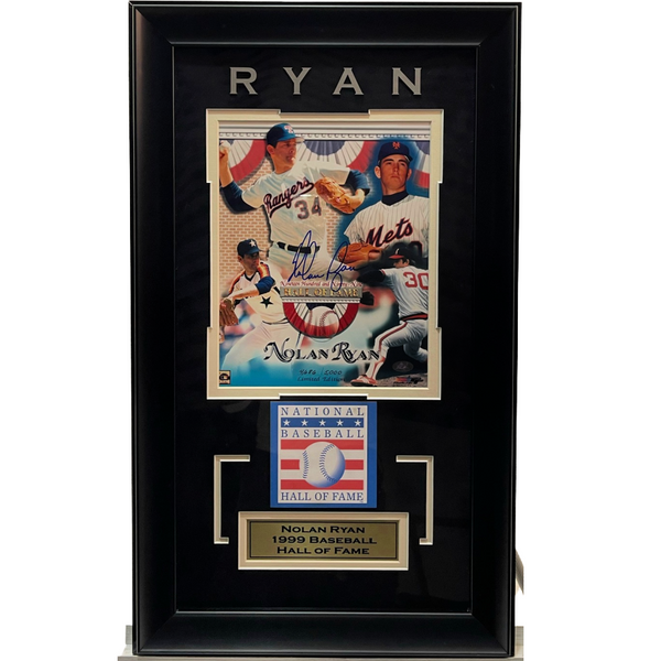 Nolan Ryan Collage Deluxe Framed Signed 8x10 Photo LSM COA