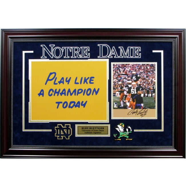 "Rudy Ruettiger Signed Notre Dame Collage ""Play Like A Champion"""