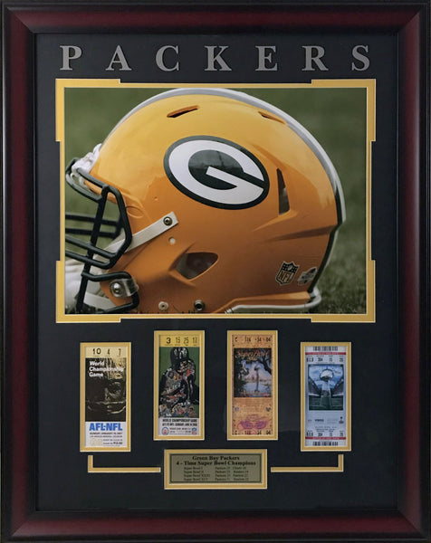 Green Bay Packers Framed Ticket Collage (Helmet)