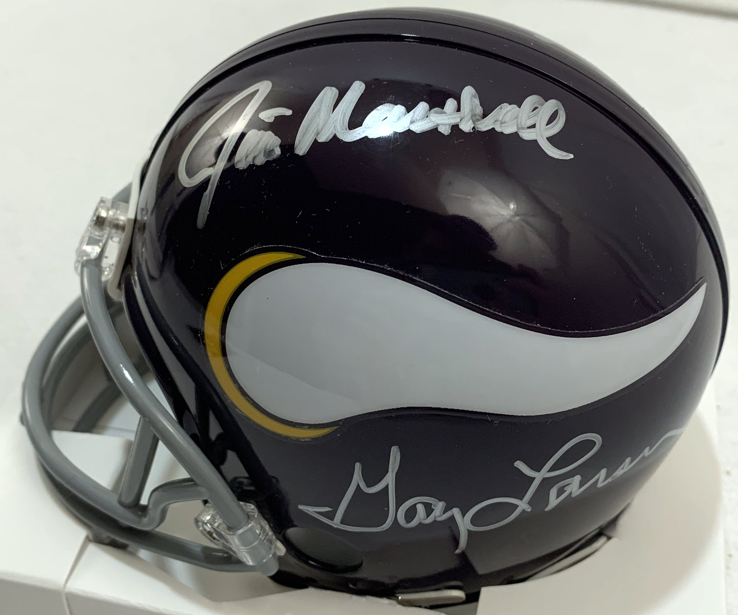 Purple People Eaters Signed Vikings Mini Helmet - Latitude Sports Marketing