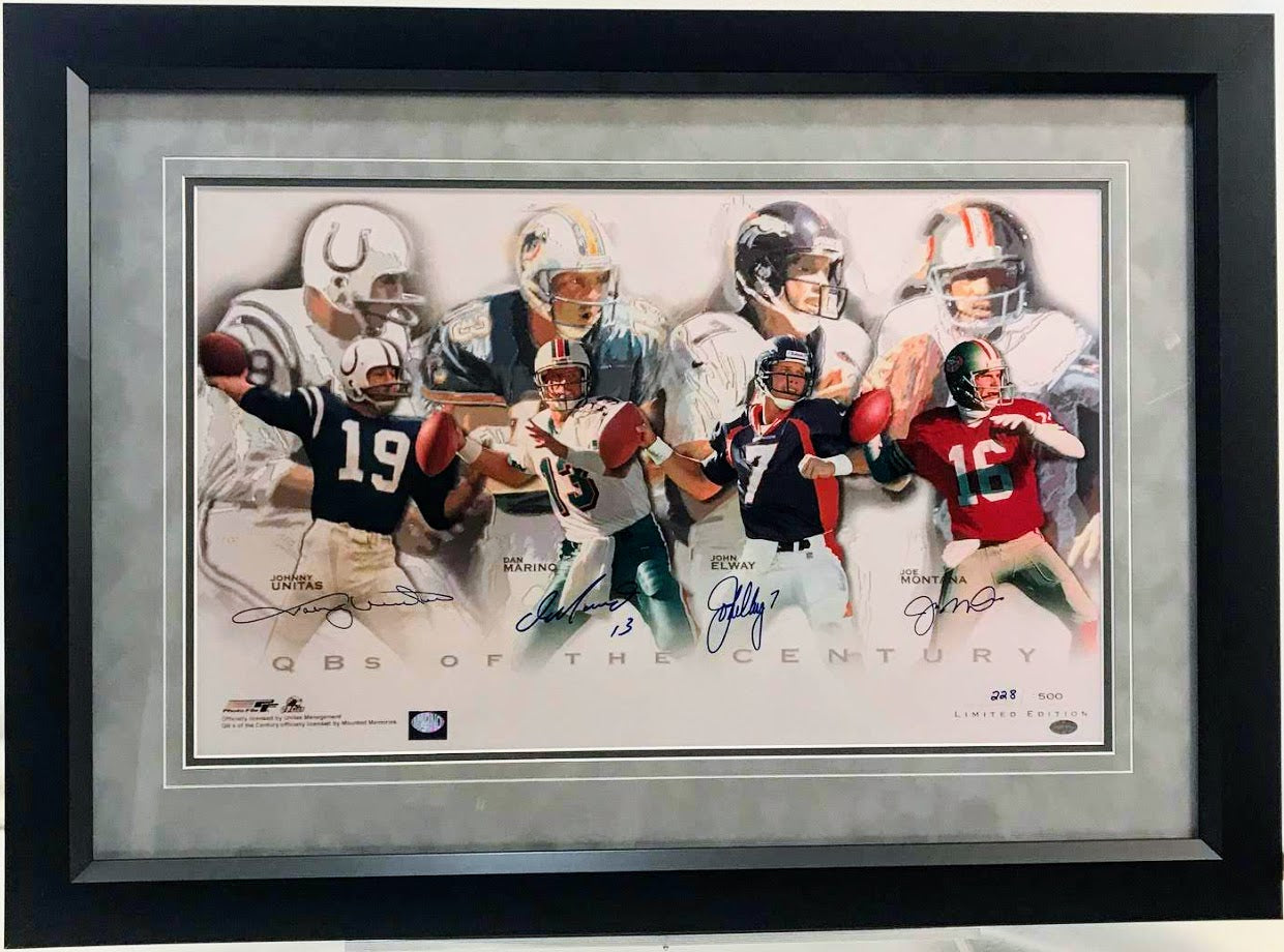Quarterbacks of the Century Signed by John Elway, Dan Marino, Johnny Unitas, & Joe Montana - Latitude Sports Marketing