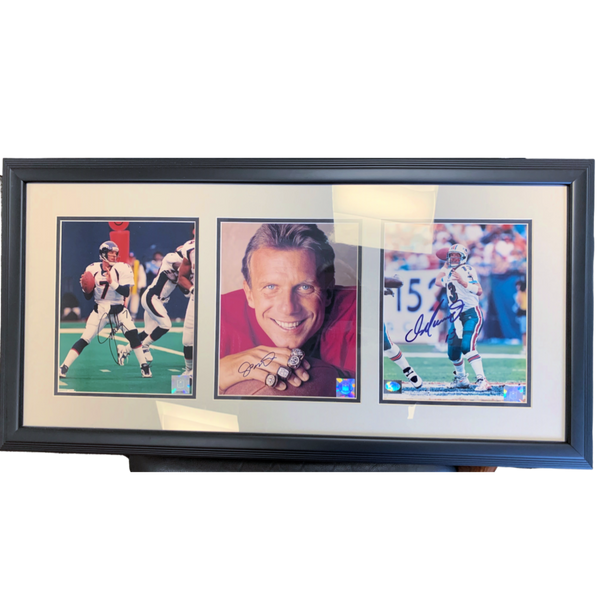 John Elway, Dan Marino, Joe Montana Signed 8x10 Photos Framed - Latitude Sports Marketing