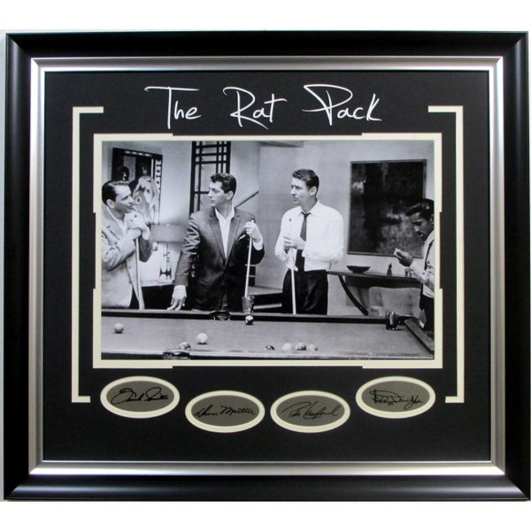Rat Pack Photo Playing Pool with Laser Signatures - Latitude Sports Marketing