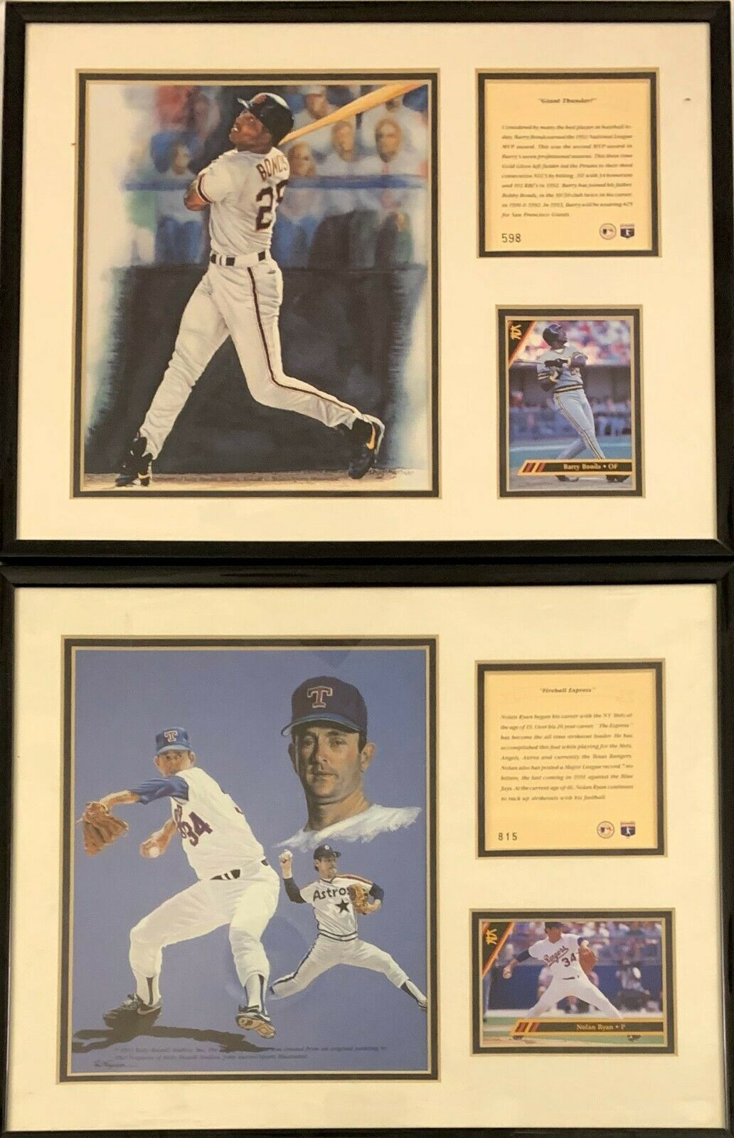 Barry Bond and Nolan Ryan Framed Photos with Cards and Note