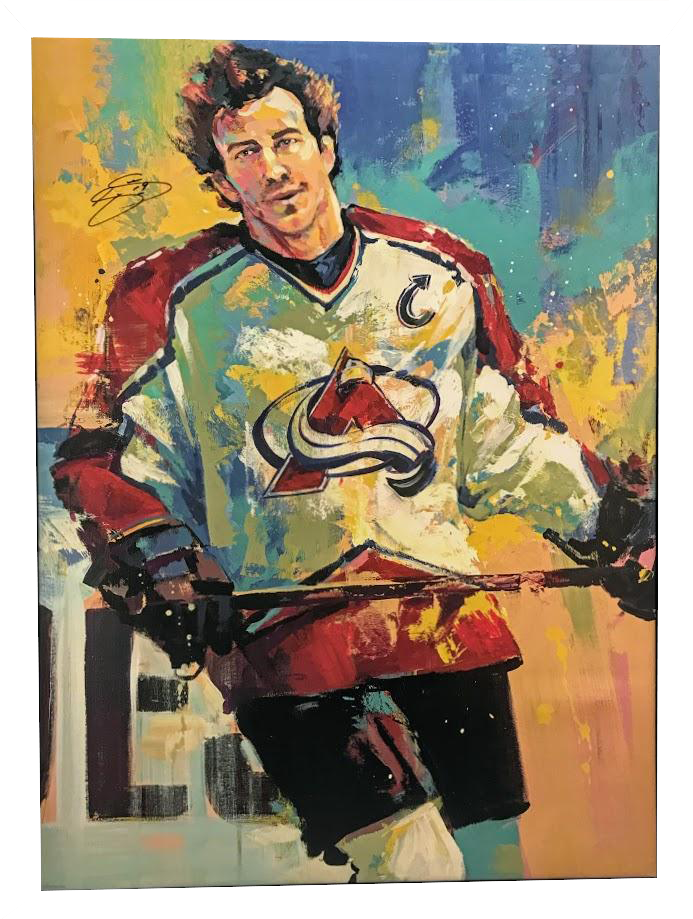 Joe Sakic Signed 32X42 Canvas Giclee By Artist Malcolm Farley Unframed - Latitude Sports Marketing