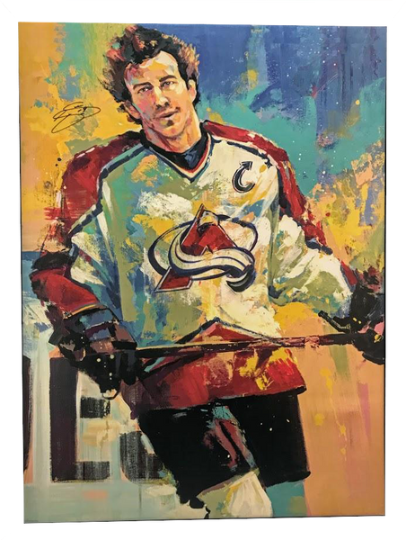 Joe Sakic Signed 32X42 Canvas Giclee By Artist Malcolm Farley Unframed