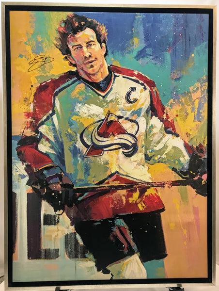 Joe Sakic Signed 32X42 Canvas Giclee By Malcolm Farley - Latitude Sports Marketing