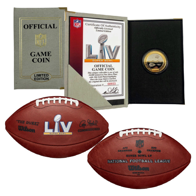 Authentic Super Bowl LV Wilson Official Game Football and Game Coin Package