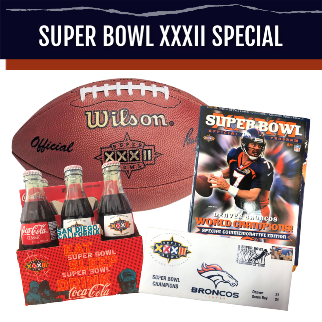 Super Bowl XXXII Authentic Game Model Football Package - Latitude Sports Marketing
