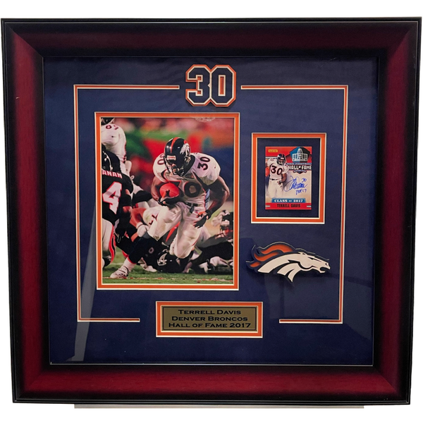 Terrell Davis Autographed Player Card Framed Collage LSM COA