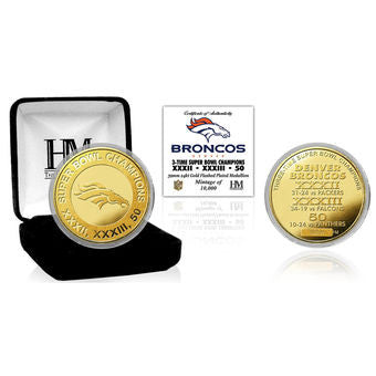 Broncos 3-Time Super bowl Champions Gold Coin