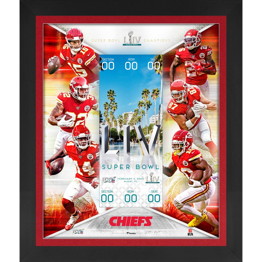 "Kansas City Chiefs Framed 23"" x 27"" Super Bowl Floating Ticket Collage - Latitude Sports Marketing"
