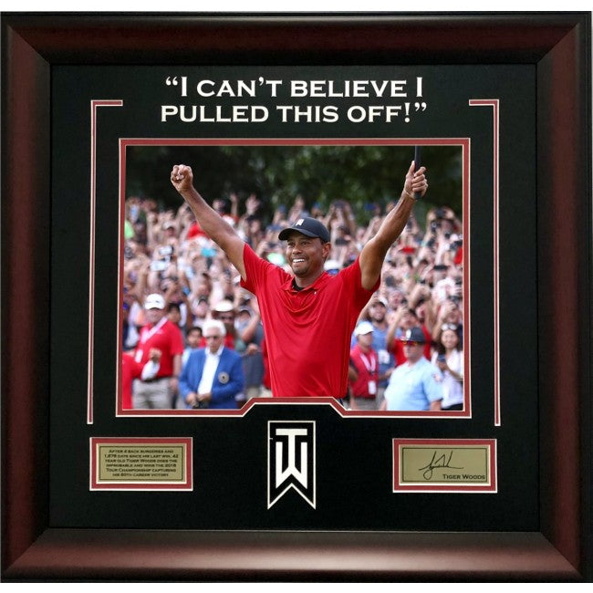 Tiger Woods Framed Photo with Quote and Laser Signature
