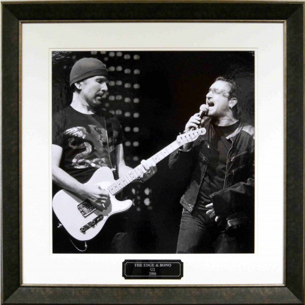 Bono & Edge Framed gallery photo with engraved name plate - Latitude Sports Marketing