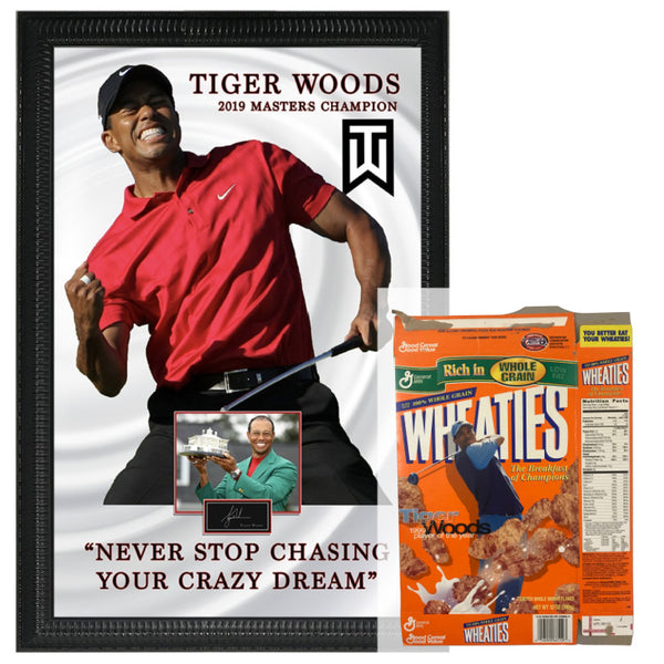 Tiger Woods Shadowbox Framed Photo with Quote & Laser Signature (Crazy Dreams) w/ Wheaties Box Package