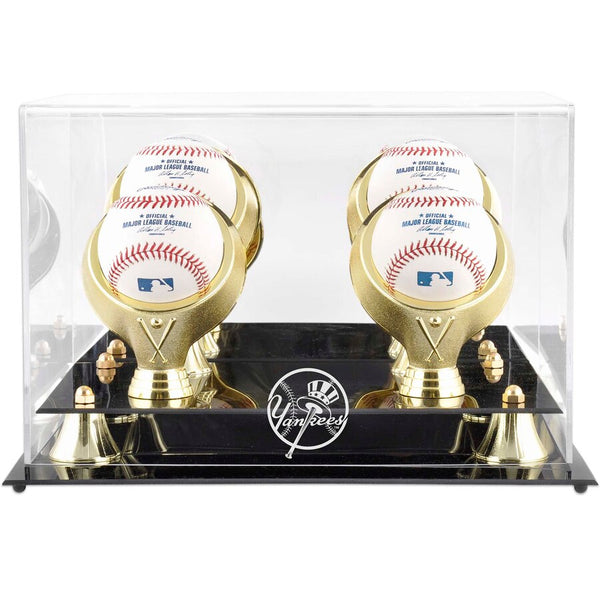 Golden Classic Yankees Four Baseball Logo Display Case