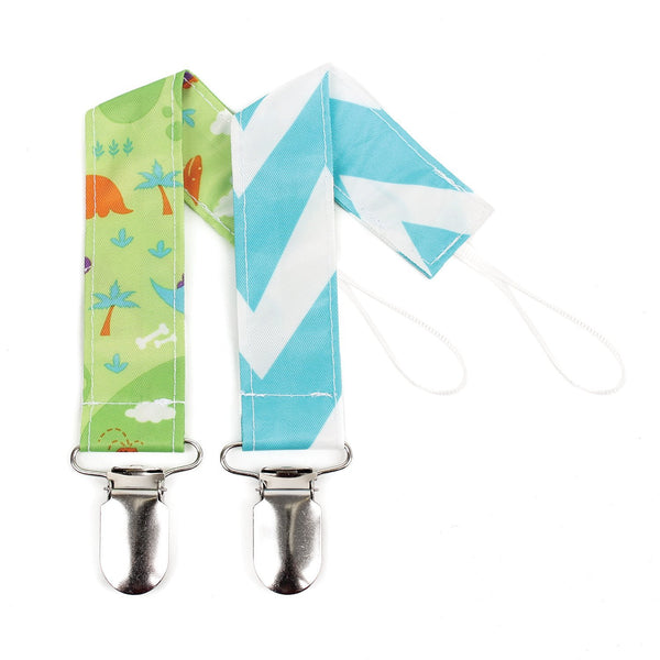 Pacifier Clip 2 Pack-Dinos and Blue Chevron