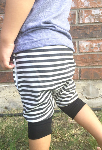Black and White Stripe Toddler Harem Shorts