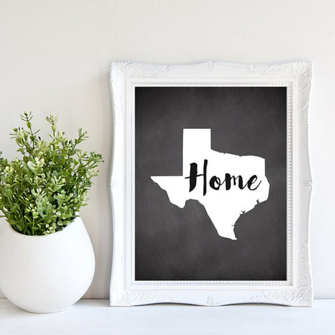 Texas Home Chalkboard Art Print