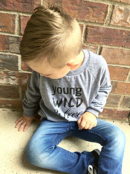 Young Wild and Free Long Sleeve Toddler Boys Tee