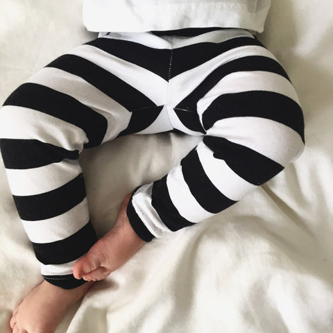 Black and White Stripe Baby Leggings/ Toddler Leggings