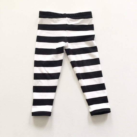 Black and White Stripe Baby Leggings / Toddler Leggings