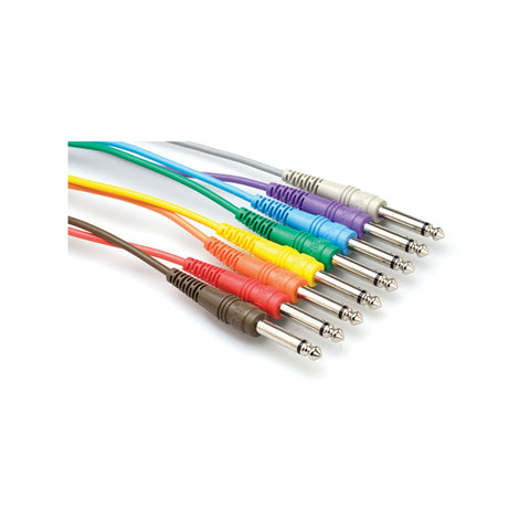 Hosa CPP-845 Unbalanced Patch Cables, 1/4 IN TS to same, 8 PC 1.5 FT