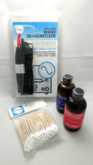 image of wand demagnetizer with 2 cleaning bottles and swabs