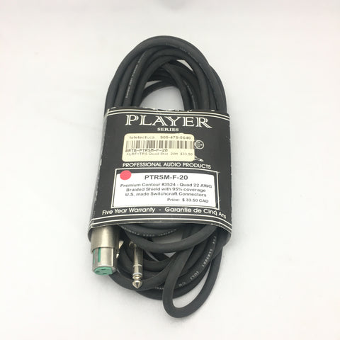 BRTB Player Series 20-Ft XLR-F to TRS PTRSM-F-20