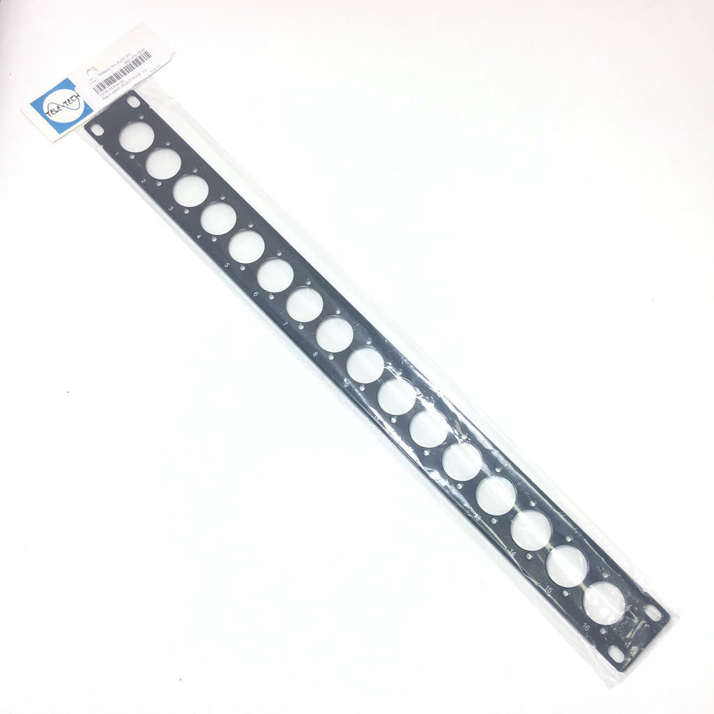 16-port D-cut patch panel, 19 inch rackmount 1U