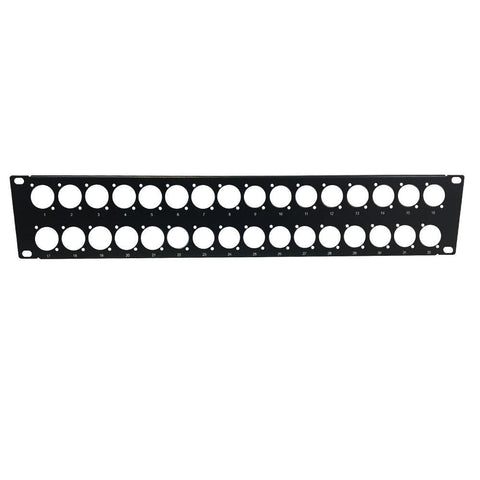 32-port D-cut patch panel, 19 inch rackmount 2U - unloaded