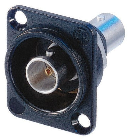 NBB75DFIB-P Black BNC Jack-Protruding -D Size Isolated Feed-Thru