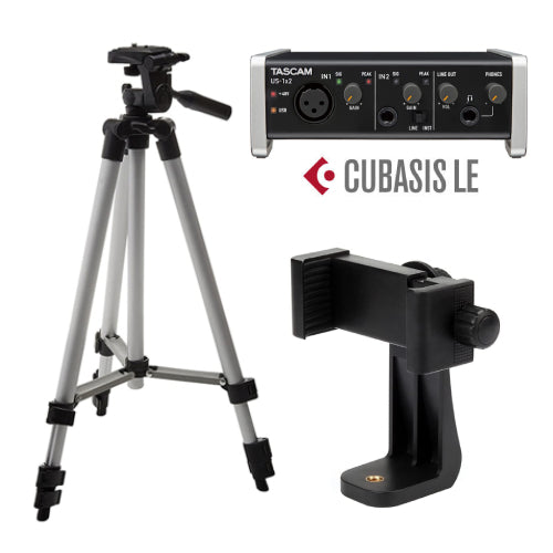 Podcast Recording Kit with Tascam US-1x2-CU USB Audio Interface, Cubase LE, Tripod and Phone Mount