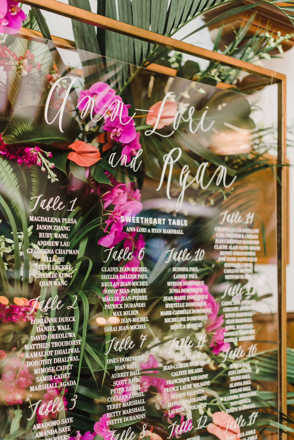 Bougainvillea Tropical Wedding Destination Inspiration Acrylic Seating Chart Citrus Press Co