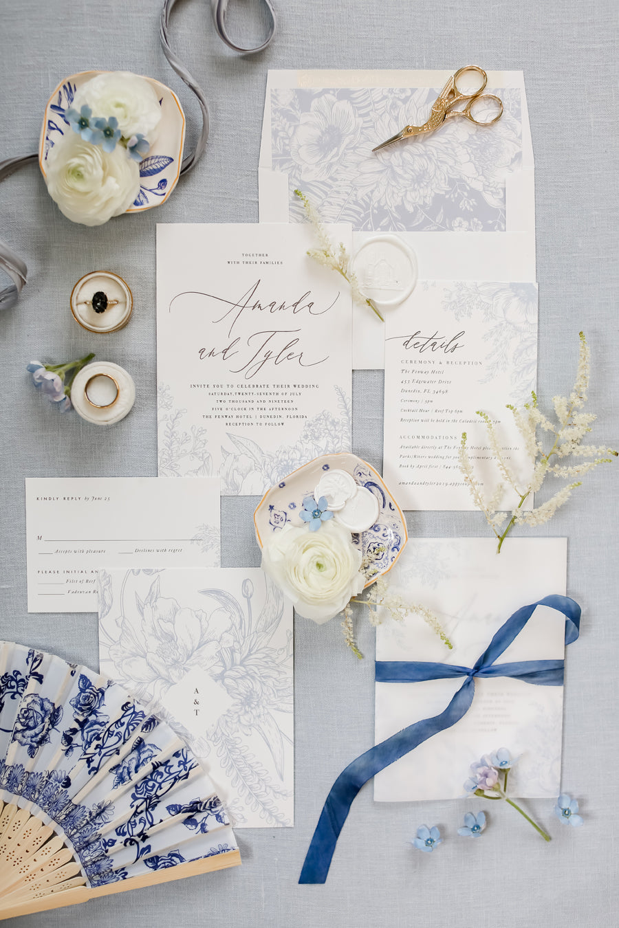 Blue wedding inspiration Citrus Press Co. Invitation Card Stationery