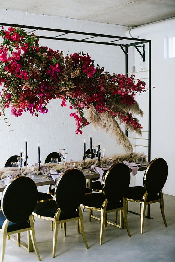 Bougainvillea Pampas grass wedding