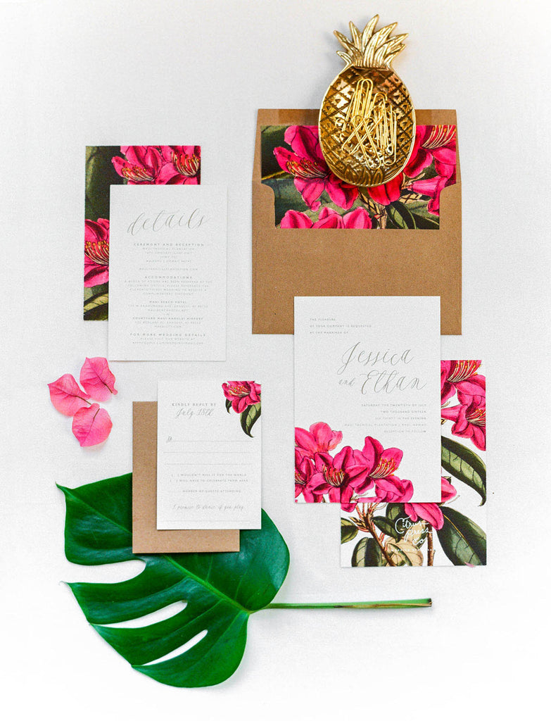 Bouganvillea Wedding Invitation Vintage Botanical