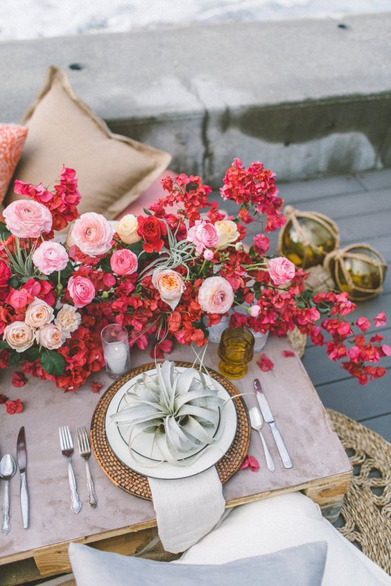Bougainvillea Wedding Tablescape reception
