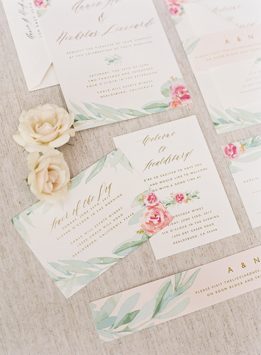 Custom Wedding Invitation Botanical Rose Gold Copper Foil Citrus Press Co Stationery Design eucalyptus watercolor Chalk Hil California vineyard romantic elegant calligraphy