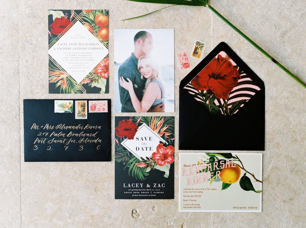Custom Wedding Invitation Botanical Rose Gold Copper Foil Citrus Press Co Stationery Design tropical palm leaf palm tree Beach Florida Wedding hibiscus romantic elegant dark moody calligraphy