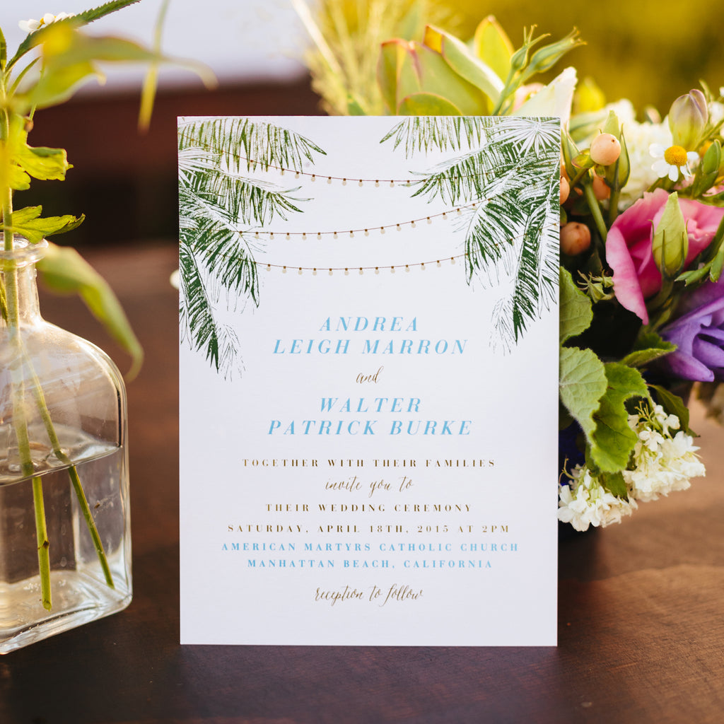 string light cafe light wedding invitation