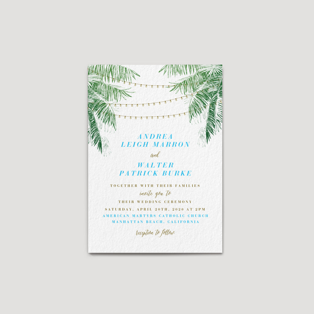 Tropical string light wedding invitation with palm tree