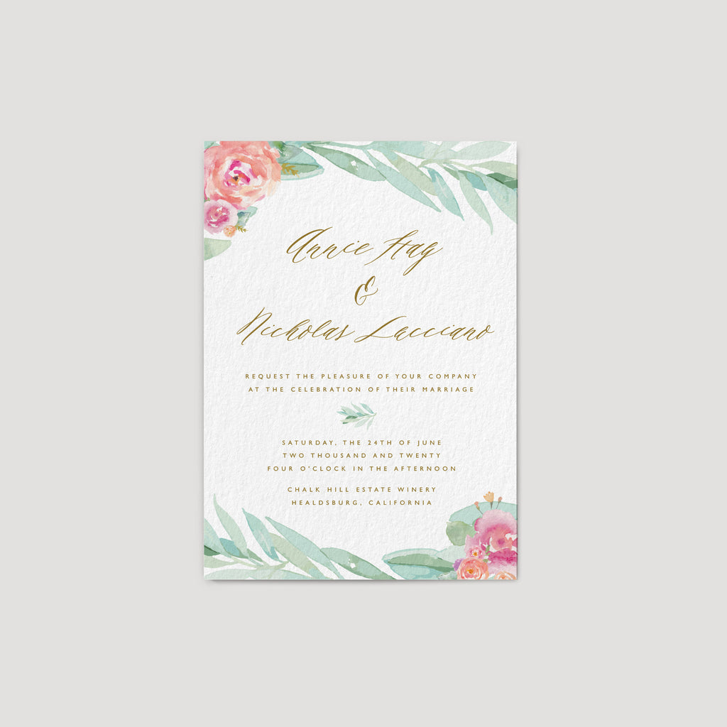 Romantic Eucalyptus Wedding Invitation with flower roses