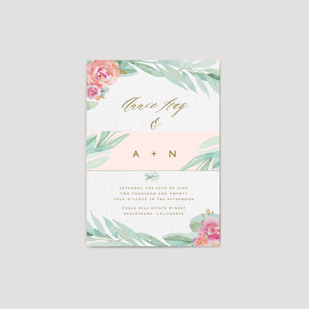 Elegant Eucalyptus Wedding Invitation with flower roses